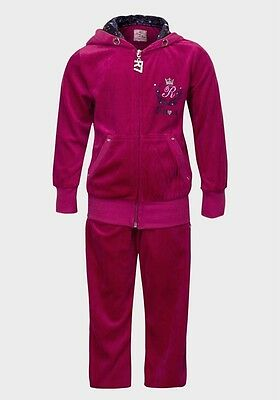 BNWT Girls Pink Blue Turquoise Velour Embroidered Hooded Tracksuit Ages 6-14yrs