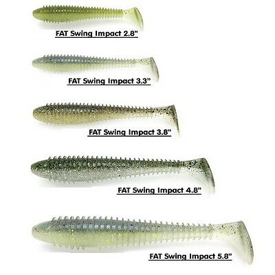"Keitech Fat Swing Impact Swimbait Soft Lure 2.8"" 3.3"" 3.8"" 4.8"" 5.8"" Many Colors"