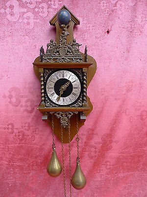 beautiful, old pendulum clock__with Bronze Figure__weights and Pendant_