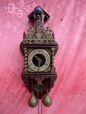 beautiful, old pendulum clock__with Bronze Figure__weights and Pendant___65cm