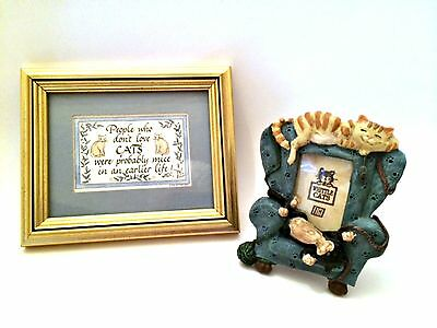 Whittle Cats Frame and The Nittany Quill Framed Cat Picture Lot Blue Gold