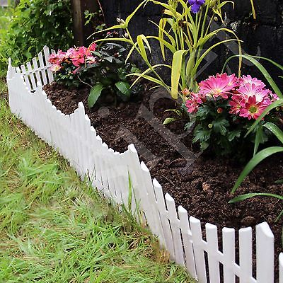 6 White Flexible Plastic Garden Picket Fence Lawn Grass Edge Edging Border 3.6m