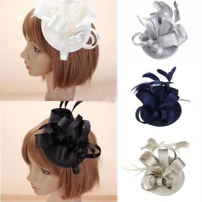 Womens Feather Fascinator Hat Cocktail Party Church Headpiece Wedding Hair Clip