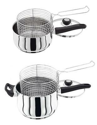 Judge Vista Stainless Steel 20cm or 22cm Chip Pan Pot with Lid and Wire Basket