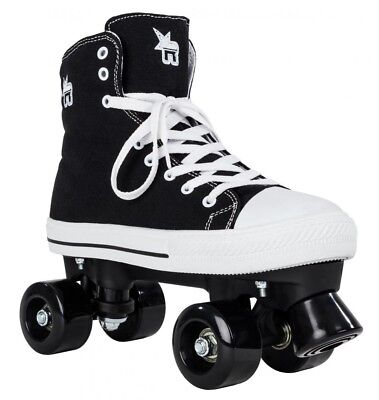 Rookie Canvas Junior/Adult Size Roller Quad Skates - Black
