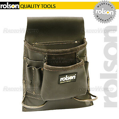Rolson Oil Tan Leather Single Pouch 8 Pocket Tool Belt Hammer Holder Nail Screw