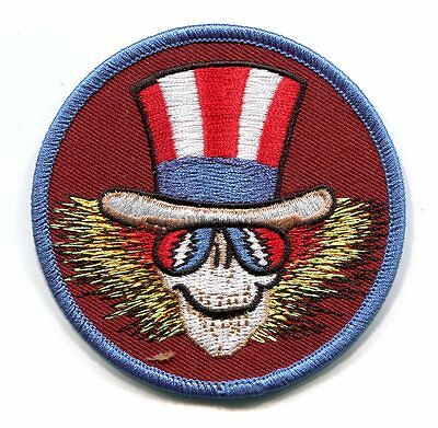 GRATEFUL DEAD uncle sam skull in hat EMBROIDERED IRON-ON PATCH **Free Shipping**