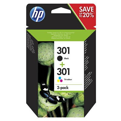 Genuine Original HP 301 Combo Black & Colour Ink For Deskjet 2540 3050A N9J72AE