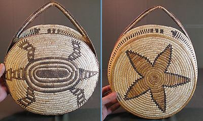 Beautiful Native American Papago 2 Sided Basketery Purse Turtle & Star
