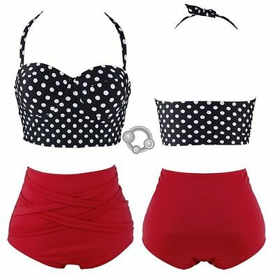 Rockabilly Polka Dot Bikini Vintage Retro High Waisted Gift Swimsuit 50s Style t