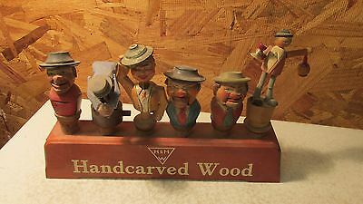 Old Anri Carved Wood Mechanical Bottle Stoppers & Stand