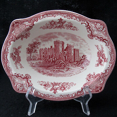 Johnson Old Britain Castles Pink Red Vegetable Bowl Crown Mark Made in England