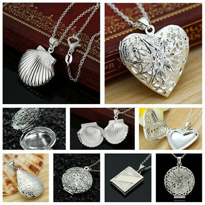 Women Silver Picture Locket Hollow Heart Photo Pendant Chain Necklace Openable