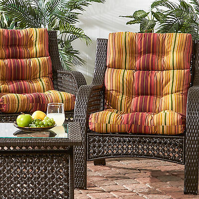 3-section Contemporary Outdoor Kinnabari Stripe High Back Chair Cushion (Set of