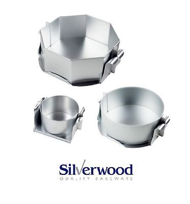 """Alan Silverwood Silver Anodised Cheesecake/Pie Mould 5"""", 8"""" Round or Octagonal"""