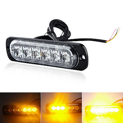Amber Recovery Strobe 6 Cree LED Light Grill Breakdown Flashing Safety Warning