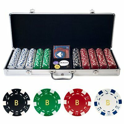 NEW Personalized Monogrammed 500 11.5 Gram Dice Striped Poker Chips in Case