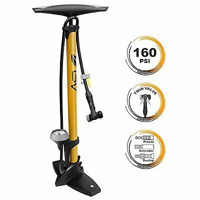 NEW BV Steel Floor Pump with Gauge 160 psi Yellow FREE SHIPPING
