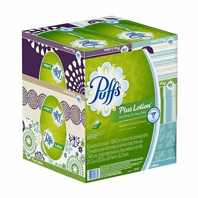 NEW Puffs Plus Lotion Facial Tissues; 6 Family Boxes; 124 Tissues per Box
