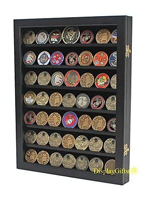Military Challenge Coin Display Case Cabinet Rack Shadow Box Wood COIN26 BLA