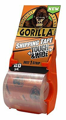 Gorilla Packaging Tape Tough & Wide with Dispenser 2.83in x 20 yd. Clear, New