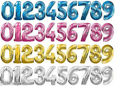 """Giant Number Foil Balloons 0-9 Supershape Happy Birthday Party Decorations 34"""""""