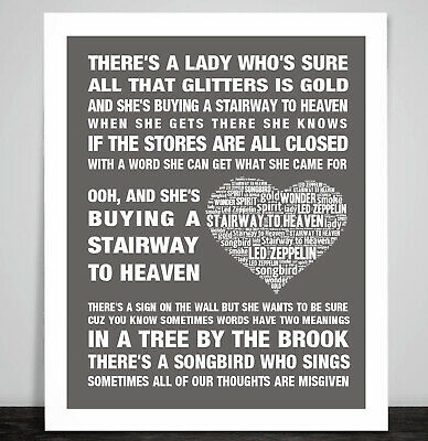 Led Zeppelin Stairway To Heaven Music Song Lyric Art Print Remembrance, Memorial