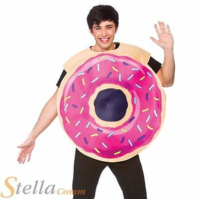 Adult Doughnut Costume Food Fancy Dress Mens Ladies Adult Outfit
