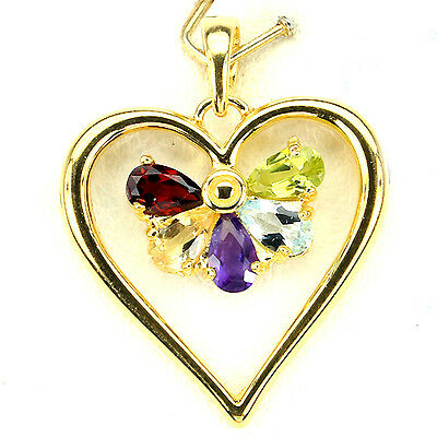 Sterling Silver 925 Gold Plated Genuine Natural Gemstone Heart Pendant
