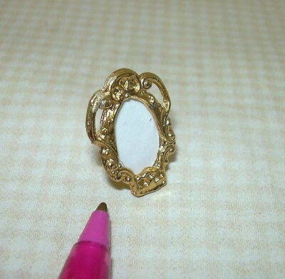 Miniature Tiny Gold Metal Stand-Alone Frame (OVAL): DOLLHOUSE 1/12