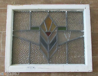 Vintage Stained Glass Window framed Mission style antique house Art Deco