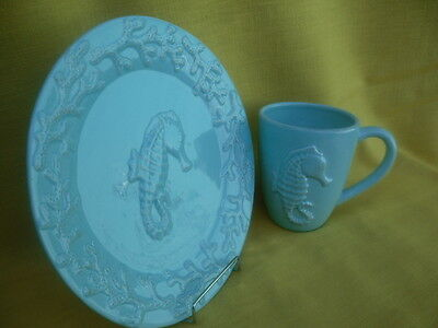 Cracker Barrel Decorative  Sand-Washed 2Pc Raised Sea Horse Pattern Cup & Plate