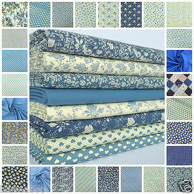 favourite blue florals spots & stripes 100% cotton fabric & FQ BUNDLE FREE P&P