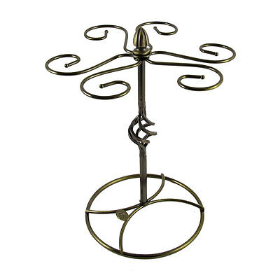 Metal Elegant Tabletop 6 Wine Glass Drying Rack Holder Display Stand Bronze Tone