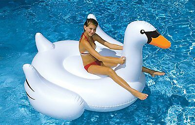 Celebrity Inflatable Giant Swan Pool Water Float on Swimming Rideable Rafts Toy