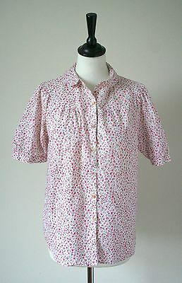 Vintage Cotton Blouse - 1980s - Pink - UK 12
