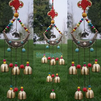 Lucky Elephant  6 Bells Ethnic Copper Wind Chimes Outdoor Yard Garden Decor Gift