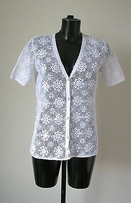 Vintage Crochet / Macrame Jacket / Top - White Cotton Knit - UK 12
