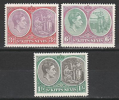 St Kitts Nevis 1938 Kgvi Badge 3D 6D And 1/- Perf 14