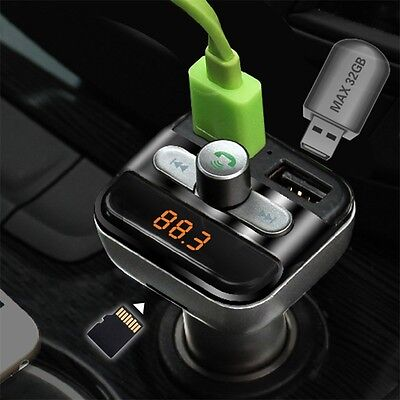Car Mp3 Player Bluetooth FM Transmitter Car Kit LCD TF Dual USB Charger UR