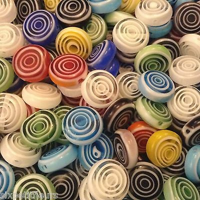 20 SWIRL lampwork glass flat coin beads 12mm lollipop bright spiral UK B197