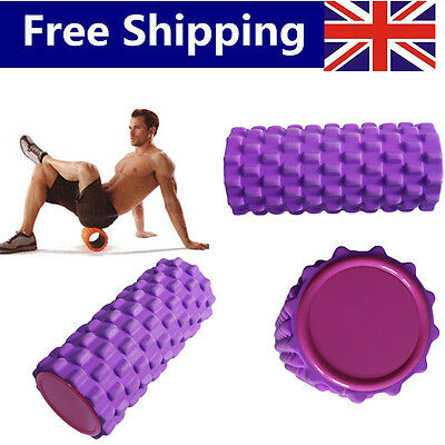 New Purple Grid Foam Gym Sports Muscle Massage Physio Textured Yoga Roller  HT