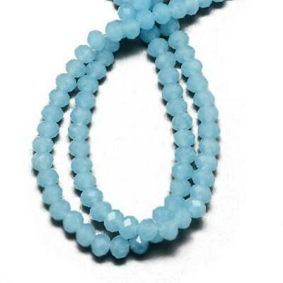95+ Cyan Czech Crystal Opaque Glass 4 x 6mm Faceted Rondelle Beads HA20190