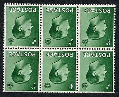 KEVIII SG 457Wi 1/2d Green Booklet Pane Wmk Inverted M/M