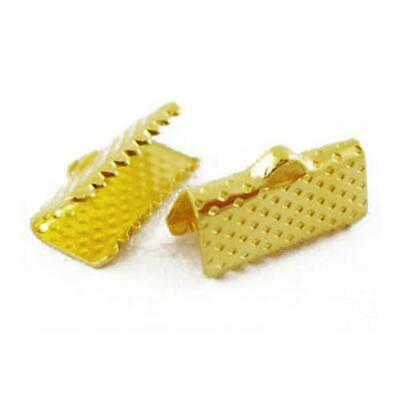 Pack Of 50+ Golden Plated Iron 7 x 10mm Ribbon Ends/Clamps HA02536