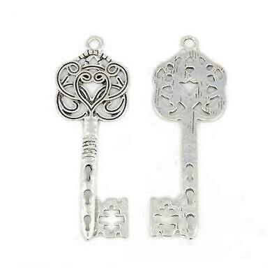 Packet of 5 x Antique Silver Tibetan 60mm Charms Pendants (Key) ZX14065