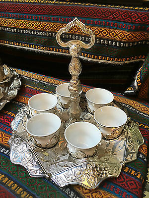 Copper Turkish Coffee Espresso Serving Set Ottoman Coffee Cup Tray with handle