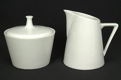 Harmony House Moonglow White Creamer & Sugar Bowl w/ Lid EUC