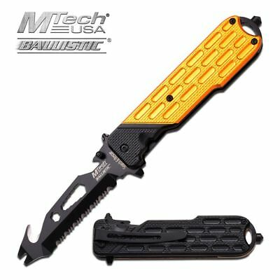 SPRING-ASSIST FOLDING POCKET KNIFE Mtech Black Yellow Tactical Multi Tool EDC