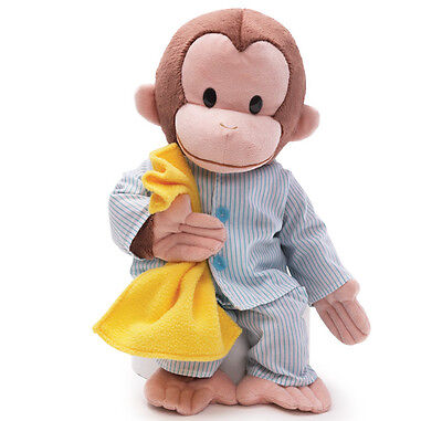 New CURIOUS GEORGE Plush Toy Stuffed Animal GUND Blue Pajama Sleepwear MONKEY